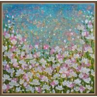 Tablou camp cu flori - Puritate. Tablou cu flori, pictat manual pe panza