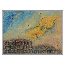 Ruine pe plaja - tablou compozitie, pictat manual