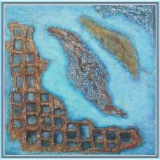 "Tablou abstract pictat manual pe panza. ""La pescuit"""