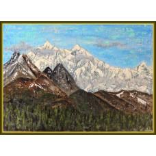 Tablou cu peisaj montan de iarnă