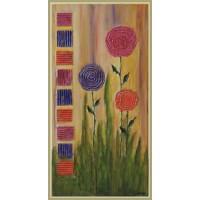 """tablou cu flori pictat pe panza - """"Tinerete cu chip de flori"""""""