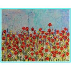 Vara, pe camp...21-0878 - Tablou unicat, pictat manual in original pe panza - Flori