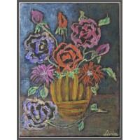 Tablou cu flori - Vaza cu flori.  Tablou pictat manual pe panza.