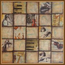 'Vechi si muzica' - tablou compozitie - Tablou unicat, pictat manual pe panza - Compozitii