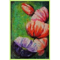 Zambet colorat21-0960 - Tablou unicat, pictat manual in original pe panza - Flori