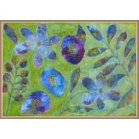 Tablou cu flori, pictat manual pe panza